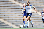 28 August 2011: Notre Dame's Mandy Laddish (2) and Duke's Kaitlyn Kerr (5). The Duke University Blue Devils defeated the Fighting Irish of Notre Dame 3-1 at Fetzer Field in Chapel Hill, North Carolina in an NCAA Women's Soccer game.