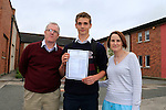 Jack Latvis, Jim Brady and Edel Peppers<br /> who collected there Junior cert results<br /> Picture Fran Caffrey www.newsfile.ie