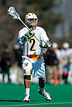 19 March 2011: University of Vermont Catamount Attacker Derek Lichtfuss, a Senior from Lutherville, MD, in action against the St. John's University Red Storm at Moulton Winder Field in Burlington, Vermont. The Catamounts defeated the visiting Red Storm 14-9. Mandatory Credit: Ed Wolfstein Photo