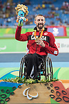 RIO DE JANEIRO - 9/9/2016:  Brent Lakatos receives his gold medal for the Men's 100m - T53 in the Olympic Stadium during the Rio 2016 Paralympic Games. (Photo by Matthew Murnaghan/Canadian Paralympic Committee