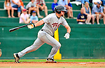 25 July 2010: Tri-City ValleyCats infielder Tyler Burnett in action against the Vermont Lake Monsters at Centennial Field in Burlington, Vermont. The ValleyCats came from behind to defeat the Lake Monsters 10-8 in NY Penn League action. Mandatory Credit: Ed Wolfstein Photo