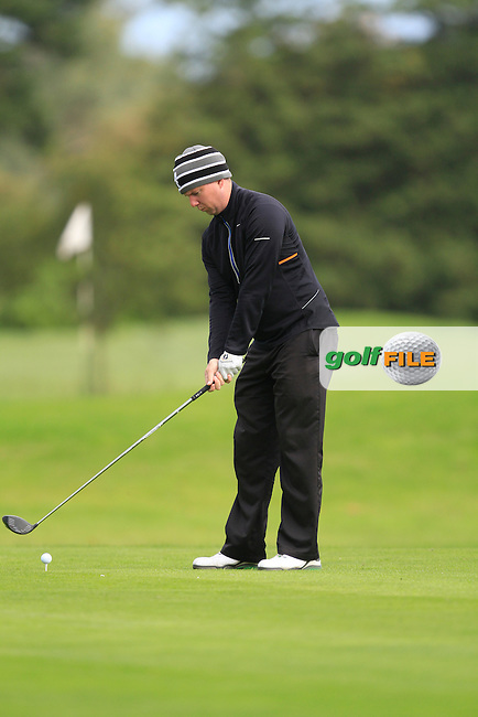 Michael McDermott (Pure Golf Leopardstown) on the 13th tee during Round 2 of The Cassidy Golf 103rd Irish PGA Championship in Roganstown Golf Club on Friday 11th October 2013.<br /> Picture:  Thos Caffrey / www.golffile.ie