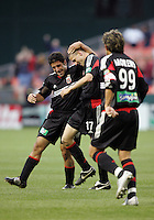 7 May 2005. DC United's Joshua Gros (17) celebrates his goal with Alecko Eskandarian (11)  at RFK Stadium in Washington, DC.