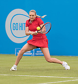 June 10th 2017,  Nottingham, England; WTA Aegon Nottingham Open Tennis Tournament day 1; Backhand from Tereza Martincova of The Czech Republic who defeated Freya Christie of Great Britain in two sets