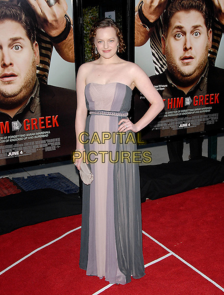 ELISABETH MOSS.L.A. Premiere of Get Him to The Greek held at The Greek Theatre in Los Feliz, California, USA..May 25th, 2010        .full length elizabeth strapless purple grey gray stripe maxi dress hand on hip beige .CAP/RKE/DVS.©DVS/RockinExposures/Capital Pictures.