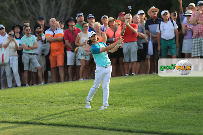 Tommy Fleetwood (ENG) on the 18th fairway during Round 4 of the DP World Tour Championship 2017, at Jumeirah Golf Estates, Dubai, United Arab Emirates. 19/11/2017<br /> Picture: Golffile | Thos Caffrey<br /> <br /> <br /> All photo usage must carry mandatory copyright credit     (&copy; Golffile | Thos Caffrey)