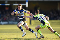 James Wilson of Bath Rugby takes on the Sale Sharks defence. Aviva Premiership match, between Bath Rugby and Sale Sharks on February 24, 2018 at the Recreation Ground in Bath, England. Photo by: Patrick Khachfe / Onside Images