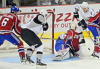 San Antonio Rampage's Jon Matsumoto (10) shoots on Hamilton Bulldogs goaltender Robert Mayer (29) during the first period of an AHL hockey game, Wednesday, March 28, 2012, in San Antonio. (Darren Abate/pressphotointl.com)