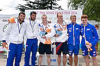 BENEDETTI Michele, RINALDI Tommaso ITA, NOVOSELOV Viacheslav, NOVOSELOV Evgeny RUS, HASLAM Jack, THORNTON Sam GBR <br /> Synchronised Springboard 3m Final - Sincro Trampolino 3m Finale <br /> Bolzano 03-08-2014 <br /> 20 Fina Diving Grand Prix <br /> Photo Andrea Staccioli/Insidefoto