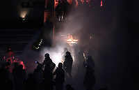 Pictured: Petrol bombs explode amongst riot police officers on the steps of the Parliament Thursday 18 May 2017<br /> Re: Clashes between anti fourth memorandum protesters and riot police in front of the Parliament building in Syntagma Square, Athens, Greece