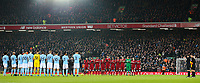 Liverpool and Manchester City players and officials pause before the game to remember former Liverpool goalkeeper Tommy Lawrence<br /> <br /> Photographer Alex Dodd/CameraSport<br /> <br /> The Premier League - Liverpool v Manchester City - Sunday 14th January 2018 - Anfield - Liverpool<br /> <br /> World Copyright &copy; 2018 CameraSport. All rights reserved. 43 Linden Ave. Countesthorpe. Leicester. England. LE8 5PG - Tel: +44 (0) 116 277 4147 - admin@camerasport.com - www.camerasport.com