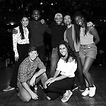 "Thayne Jasperson, Gabby Sorrentino, Lauren Boyd, Deon'te Goodman, Terrance Spencer, Marc delaCruz and Johanna Moise during the Q & A before The Rockefeller Foundation and The Gilder Lehrman Institute of American History sponsored High School student #EduHam matinee performance of ""Hamilton"" at the Richard Rodgers Theatre on 5/22/2019 in New York City."