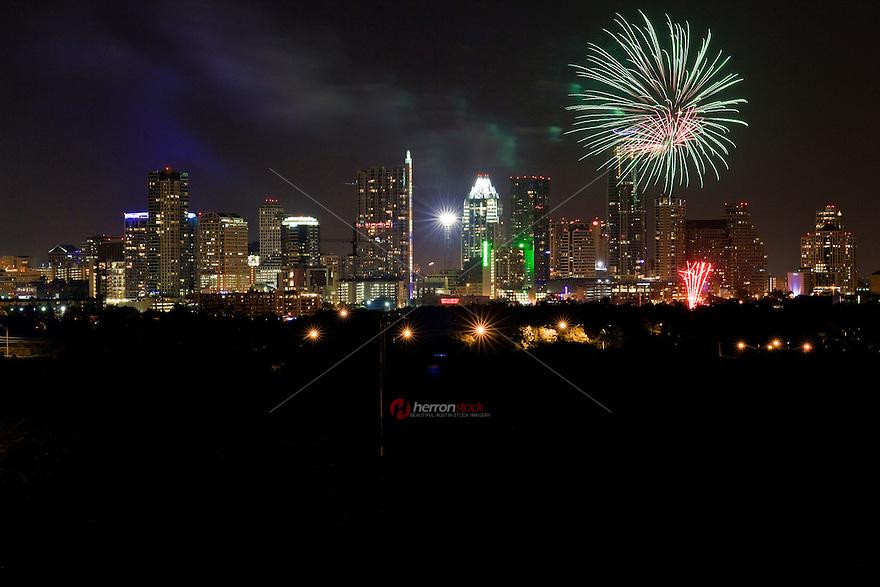 Fireworks cascade over downtown Austin, Texas Skyline