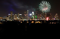 Fireworks cascade over downtown Austin, Texas Skyline