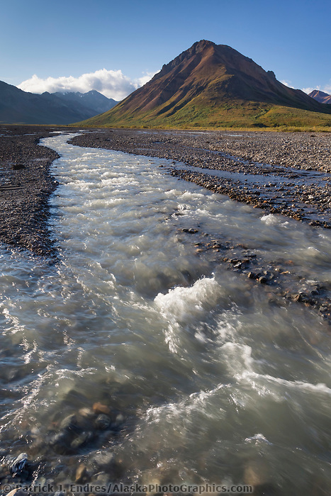 Toklat river and Divide mountain, Denali National Park, Alaska.