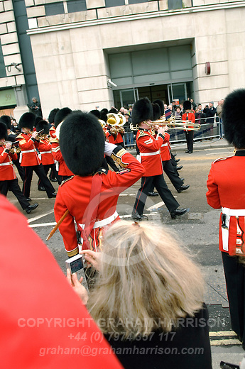 Military band and soldiers of the Irish Guards on Ludgate Hill during the funeral service of Margaret Thatcher, London, 17 April 2013.<br /> <br /> Margaret Thatcher (1925-2013) was a radical Conservative politician and British Prime Minister from 1979 to 1992.  <br /> <br /> PHOTO COPYRIGHT GRAHAM HARRISON graham@grahamharrison.com<br /> +44 (0) 7974 357 117<br /> Moral rights asserted.