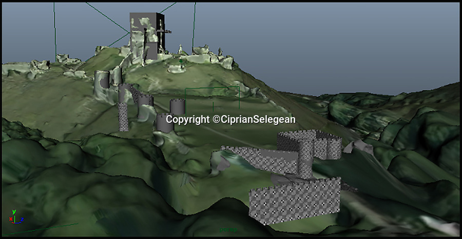 BNPS.co.uk (01202 558833)<br /> Pic: CiprianSelegean/BNPS<br /> <br /> A 3D model used to reconstruct Corfe Castle.<br /> <br /> A computer animation student is taking tourists back to medieval times with his painstaking transformation of the ruins of an ancient castle.<br /> <br /> Ciprian Selegean's footage is so realistic it looks like someone has filmed the towering stone fortress now, but he actually digitally reconstructed what Corfe Castle in Dorset looked like in its prime.<br /> <br /> The 22-year-old University of Portsmouth student spent several months researching the history of the important monument and then brought the castle to life using several software programmes to create a realistic, moving 3D representation.<br /> <br /> The clever historical reconstruction makes it look as if the impressive stronghold was never destroyed in 1646 and even has a guardsman standing watch at the castle gate. <br /> <br /> The digital image then falls away to reveal what people can actually see at the site today.