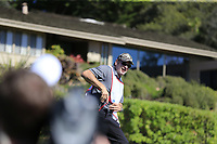 Kelly Rohrbach hits Sir Nick Faldo caddying for Clint Eastwood part of the 3M Celebrity Challenge during Wednesday's Pracitce Day of the 2018 AT&amp;T Pebble Beach Pro-Am, held over 3 courses Pebble Beach, Spyglass Hill and Monterey, California, USA. 7th February 2018.<br /> Picture: Eoin Clarke | Golffile<br /> <br /> <br /> All photos usage must carry mandatory copyright credit (&copy; Golffile | Eoin Clarke)