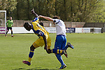 Vauxhall Motors FC 0 Solihull Moors 2, 26/04/2014. Rivacre Park, Conference North. Second-half action during Vauxhall Motors (in white) play Solihull Moors at Rivacre Park in the final Conference North fixture of the season. It was to be the last match for the Ellesmere Port-based home club, named after the giant car factory in the town, who have resigned from the professional pyramid system to return to local amateur football due to spiralling costs and low attendances. Their final match resulted in a 2-0 home defeat, watched by a crowd of only 215. Photo by Colin McPherson.