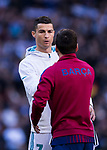 Cristiano Ronaldo of Real Madrid and Lionel Andres Messi of FC Barcelona shake hands prior to the La Liga 2017-18 match between Real Madrid and FC Barcelona at Santiago Bernabeu Stadium on December 23 2017 in Madrid, Spain. Photo by Diego Gonzalez / Power Sport Images