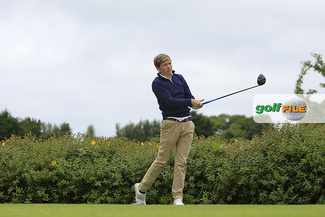 Harry McGeary (Dungannon) on the 18th tee during R1 of the 2016 Connacht U18 Boys Open, played at Galway Golf Club, Galway, Galway, Ireland. 05/07/2016. <br /> Picture: Thos Caffrey | Golffile<br /> <br /> All photos usage must carry mandatory copyright credit   (&copy; Golffile | Thos Caffrey)