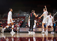 STANFORD, CA - January 17, 2019: Jaylen Jasper, Kyle Dagostino, Paul Bischoff, Stephen Moye at Maples Pavilion. The Stanford Cardinal defeated UC Irvine 27-25, 17-25, 25-22, and 27-25.