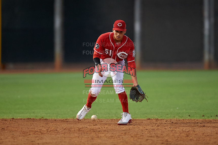 AZL Reds shortstop Yan Contreras (51) during an Arizona League game against the AZL Athletics Green on July 21, 2019 at the Cincinnati Reds Spring Training Complex in Goodyear, Arizona. The AZL Reds defeated the AZL Athletics Green 8-6. (Zachary Lucy/Four Seam Images)