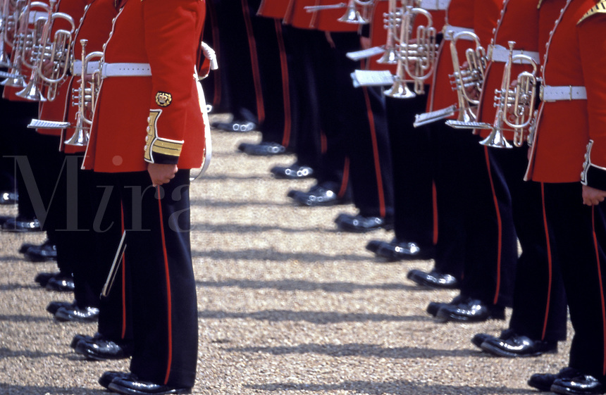 UK, England, London, Trooping the Colour (Queen's birthday parade) two lines of guards, section of legs