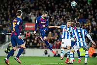 7th March 2020; Camp Nou, Barcelona, Catalonia, Spain; La Liga Football, Barcelona versus Real Sociedad; Gerard Pique of FC Barcelona wins the header from Gorosabel of Sociedad to get an effort goalwards