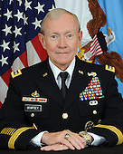General Martin E. Dempsey, United States Army, serves as the 18th Chairman of the Joint Chiefs of Staff.  In this capacity, he serves as the principal military adviser to the President, the Secretary of Defense and the National Security Council.  By law, he is the nation's highest-ranking military officer.  Prior to becoming Chairman, the general served as the Army's 37th Chief of Staff.  Past assignments have taken him and his family across the globe during both peace and war from Platoon Leader to Combatant Commander. He is a 1974 graduate of the United States Military Academy and a career armor officer.  .Credit: DoD via CNP