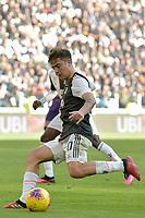 2nd February 2020; Allianz Stadium, Turin, Italy; Serie A Football, Juventus versus Fiorentina; Paulo Dybala of Juventus has a shot at goal