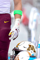 College Park, MD - SEPT 22, 2018: Minnesota Golden Gophers players pay tribute to a fallen teammate wearing  a green armband during game between Maryland and Minnesota at Capital One Field at Maryland Stadium in College Park, MD. The Terrapins defeated the Golden Bears 42-13 to move to 3-1 on the season. (Photo by Phil Peters/Media Images International)