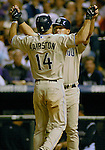 01 October  2007:  San Diego left fielder, Scott Hairston is congratulated after his 13th inning homerun put the Padres ahead  during the San Diego's 9-8 loss to the Colorado Rockies at Coors Field, Denver, Colorado.