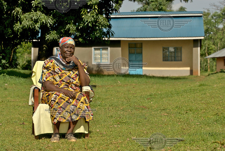 Sarah Hussein Obama in front of her home. She is the grandmother of Democrat Senator and US presidential candidate Barack Obama, whose father was born and brought up here in the village of Nyangoma Kogelo.