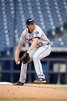Lakeland Flying Tigers starting pitcher Alex Faedo (13) delivers a pitch during the first game of a doubleheader against the Tampa Tarpons on May 31, 2018 at George M. Steinbrenner Field in Tampa, Florida.  Tampa defeated Lakeland 3-0.  (Mike Janes/Four Seam Images)