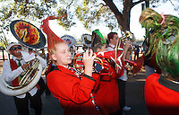 "STANFORD,CA-- October 5, 2013: The band warms up the crowd before ""The Walk"" which precedes the Stanford vs Washington game Saturday night at Stanford Stadium.<br /> <br /> Stanford won 31-28."