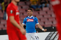 Napoli's Dries Mertens  celebrates after scoring his second gol  during the Europa  League Group D soccer match against Brugge   at the San Paolo  Stadium in Naples September 17, 2015