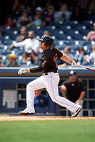 Nashville Sounds left fielder Chris Parmelee (25) follows through on a swing during a game against the New Orleans Baby Cakes on May 1, 2017 at First Tennessee Park in Nashville, Tennessee.  Nashville defeated New Orleans 6-4.  (Mike Janes/Four Seam Images)
