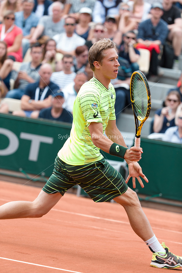 May 24, 2015: Kimmer Coppejans (BEL) in action in a 1st round match against Nicolas Mahut (FRA) on day one of the 2015 French Open tennis tournament at Roland Garros in Paris, France. Mahut won 63 64 76. Sydney Low/AsteriskImages