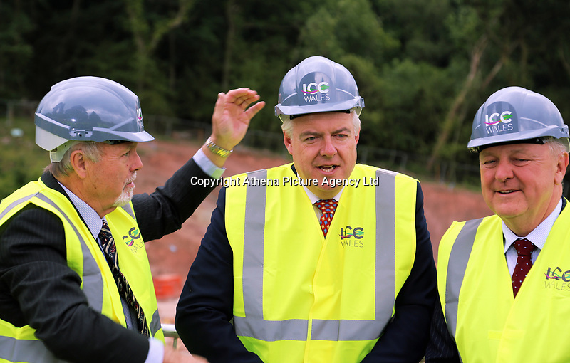 Pictured L-R: Sir Terry Matthews, Carwyn Jones and Stephen Bowcott. Friday 23 June 2017<br /> Re: First Minister for Wales Carwyn Jones has joined Sir Terry Matthews, Chairman of the Celtic Manor Resort; Stephen Bowcott, Chief Executive of Sisk Group Construction; and Debbie Wilcox, Leader of Newport City Council, to break ground on the site of the new ICC Wales.<br /> Around 80 invited guests from the public and private sectors of the events industry have also witnessed the ground breaking ceremony which marks the official start of the construction of the new venue, due to open in 2019.<br /> The dignitaries will use commemorative spades to symbolically dig the first ground on the new site, marking the start of building work in earnest.
