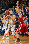 BROOKINGS, SD - FEBRUARY 2:  Clarissa Ober #21 from South Dakota State looks to shoot over the defense of Bridget Arens #22 from the University of South Dakota in the first half of their game Sunday afternoon at Frost Arena in Brookings. (Photo by Dave Eggen/Inertia)
