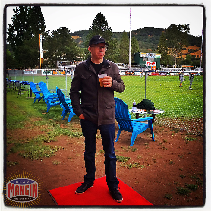 SONOMA, CA - AUGUST 5: Instagram of Grover Sanschagrin holding a beer on the red carpet before the game between Vallejo and Sonoma at Arnold Field on August 5, 2014 in Sonoma, California. Photo by Brad Mangin