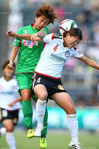 (L-R)<br /> Minami Tanaka (Beleza),<br /> Sachie Takahashi (Belle),<br /> JULY 20, 2015 - Football / Soccer : <br /> 2015 Plenus Nadeshiko League Division 1 <br /> between NTV Beleza 2-1 Okayama Yunogo Belle <br /> at NHK Spring Mitsuzawa Football Stadium, Kanagawa, Japan.<br /> (Photo by Shingo Ito/AFLO SPORT)