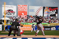 7 March 2009: #35 Randall Simon of the Netherlands hits the ball during the 2009 World Baseball Classic Pool D match at Hiram Bithorn Stadium in San Juan, Puerto Rico. Netherlands pulled off a huge upset in their World Baseball Classic opener with a 3-2 victory over Dominican Republic.