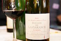 Cuvee Les Armieres Vin de Pays de l'Herault. Domaine de la Garance. Pezenas region. Languedoc. France. Europe. Bottle. Wine glass.