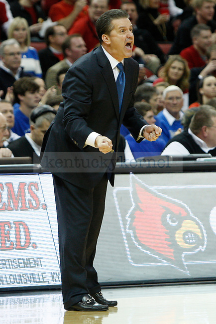 UK head coach John Calipari during the second half of the UK Men's basketball game vs. University of Louisville at KFC Yum! Center in Louisville, Ky., on Saturday, December 29, 2012. U of L won 80-77. Photo by Tessa Lighty | Staff