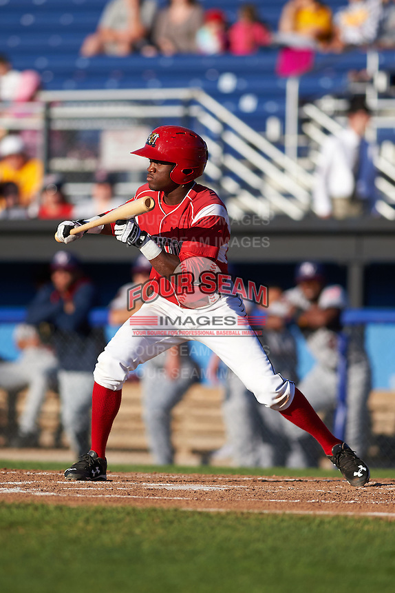 Batavia Muckdogs shortstop Anfernee Seymour (3) squares to bunt during a game against the Mahoning Valley Scrappers on June 23, 2015 at Dwyer Stadium in Batavia, New York.  Mahoning Valley defeated Batavia 11-2.  (Mike Janes/Four Seam Images)