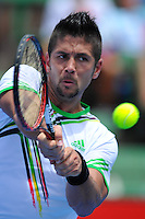MELBOURNE, 12 JANUARY - Fernando Verdasco (ESP) hits a backhand in a match against Gael Monfils (FRA) on day one of the 2011 AAMI Classic at Kooyong Tennis Club in Melbourne, Australia. (Photo Sydney Low / syd-low.com)
