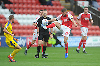 Fleetwood Town's Jack Sowerby under pressure from AFC Wimbledon's Shane McLoughlin<br /> <br /> Photographer Kevin Barnes/CameraSport<br /> <br /> The EFL Sky Bet Championship - Fleetwood Town v AFC Wimbledon - Saturday 10th August 2019 - Highbury Stadium - Fleetwood<br /> <br /> World Copyright © 2019 CameraSport. All rights reserved. 43 Linden Ave. Countesthorpe. Leicester. England. LE8 5PG - Tel: +44 (0) 116 277 4147 - admin@camerasport.com - www.camerasport.com