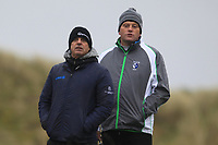 Paul McGinley (IRL) watching Eoin Murphy's (Dundalk) tee shot on the 13th during Round 2 of the Ulster Boys Championship at Portrush Golf Club, Portrush, Co. Antrim on the Valley course on Wednesday 31st Oct 2018.<br /> Picture:  Thos Caffrey / www.golffile.ie<br /> <br /> All photo usage must carry mandatory copyright credit (&copy; Golffile | Thos Caffrey)
